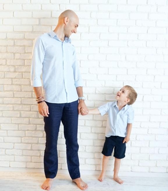 Camasi Tata si Fiu - dungi alb bleu 2