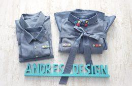 Camasi Tata Fiu si Rochie Mama – jeans cu nasturi colorati