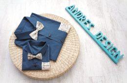 Camasi Tata Fiu – albastru paun cu note muzicale