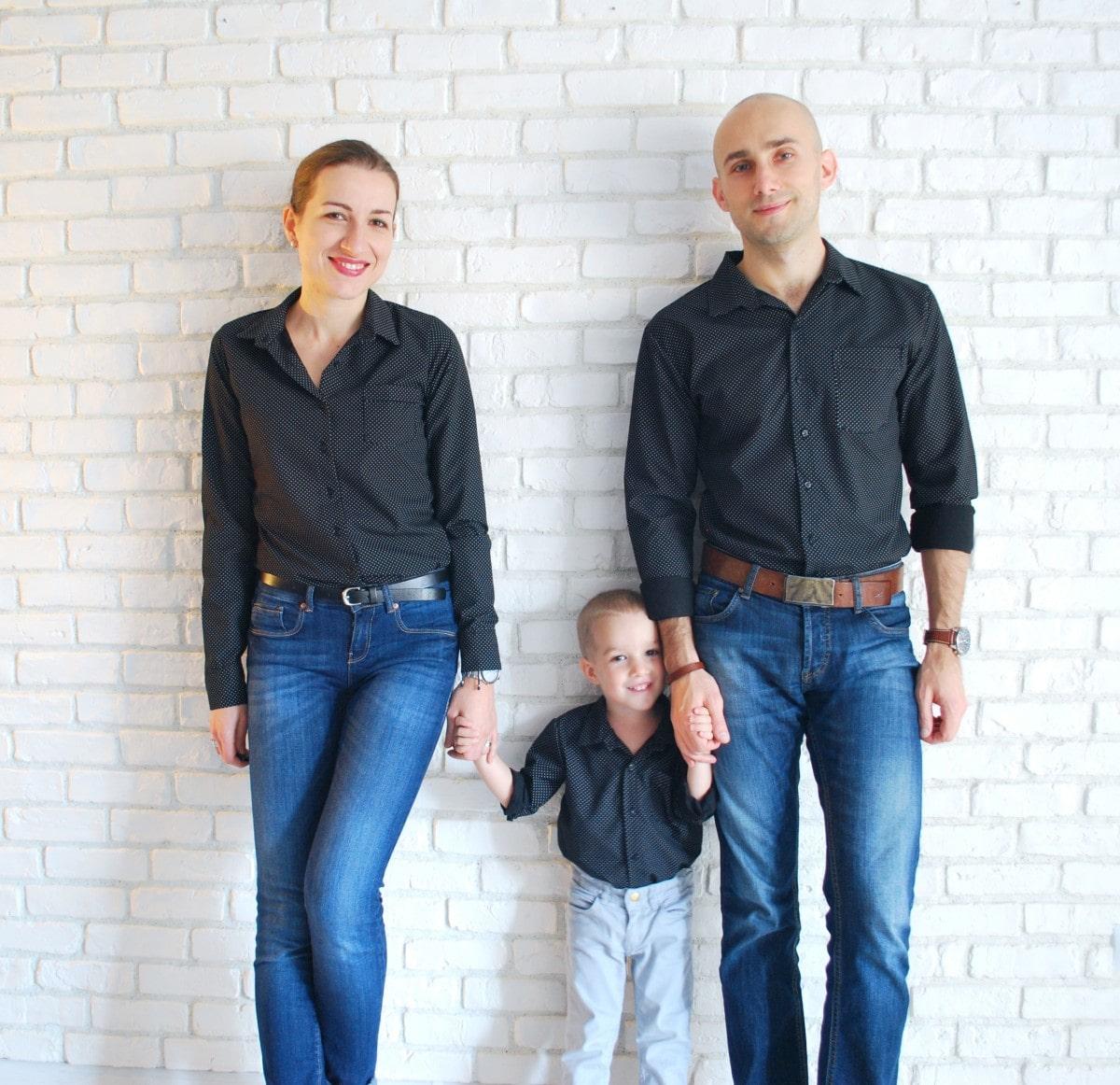 camasi negre maneca lunga - mama tata si copil 1