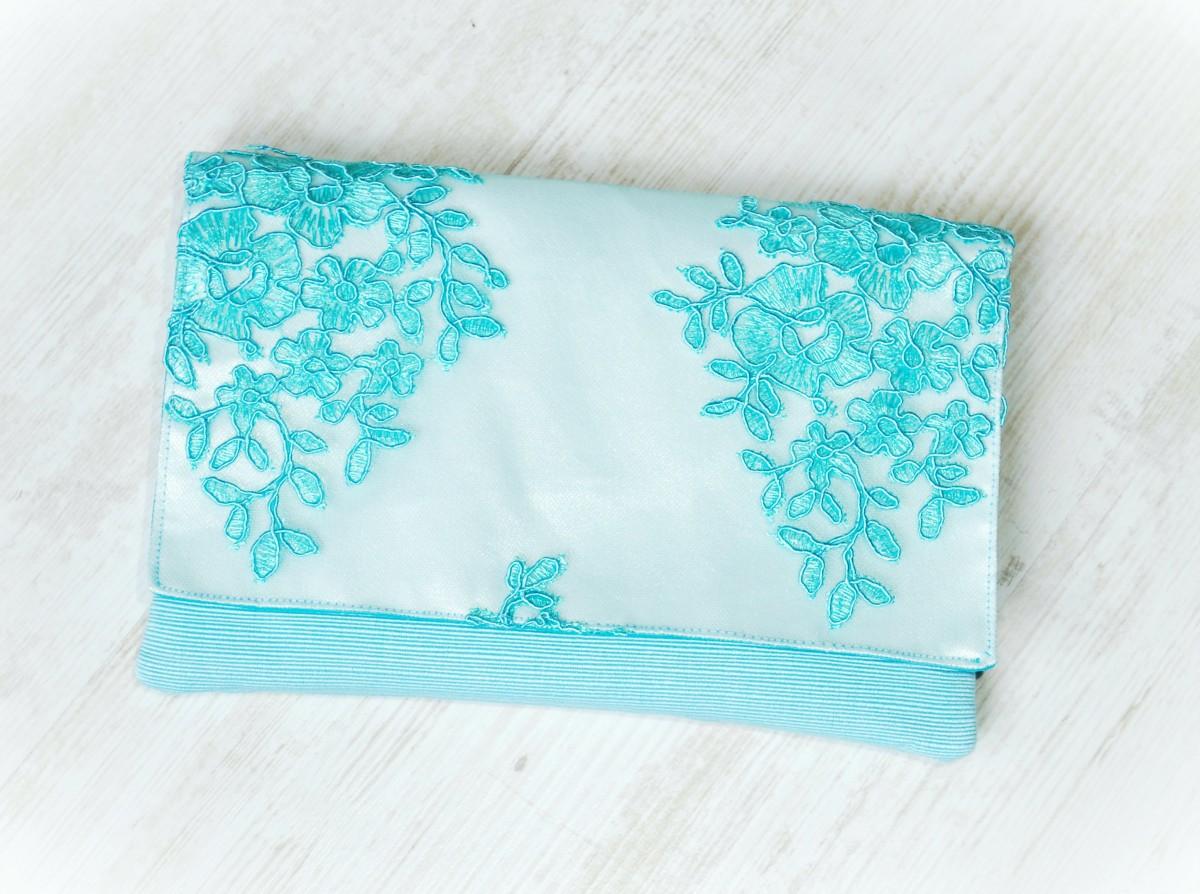 Geanta plic dantela bleu turcoaz