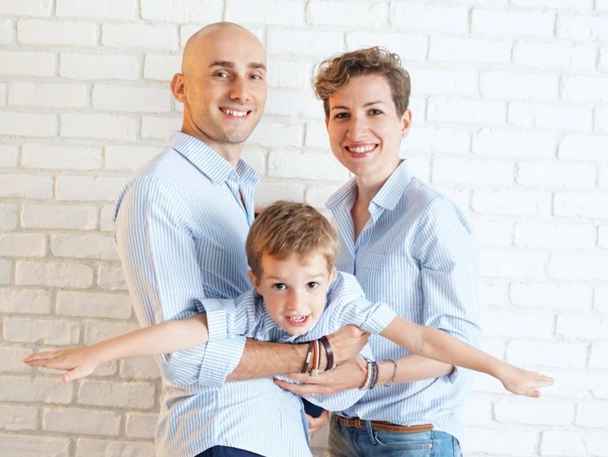 Camasi Mama Tata si Fiu - dungi alb bleu 4