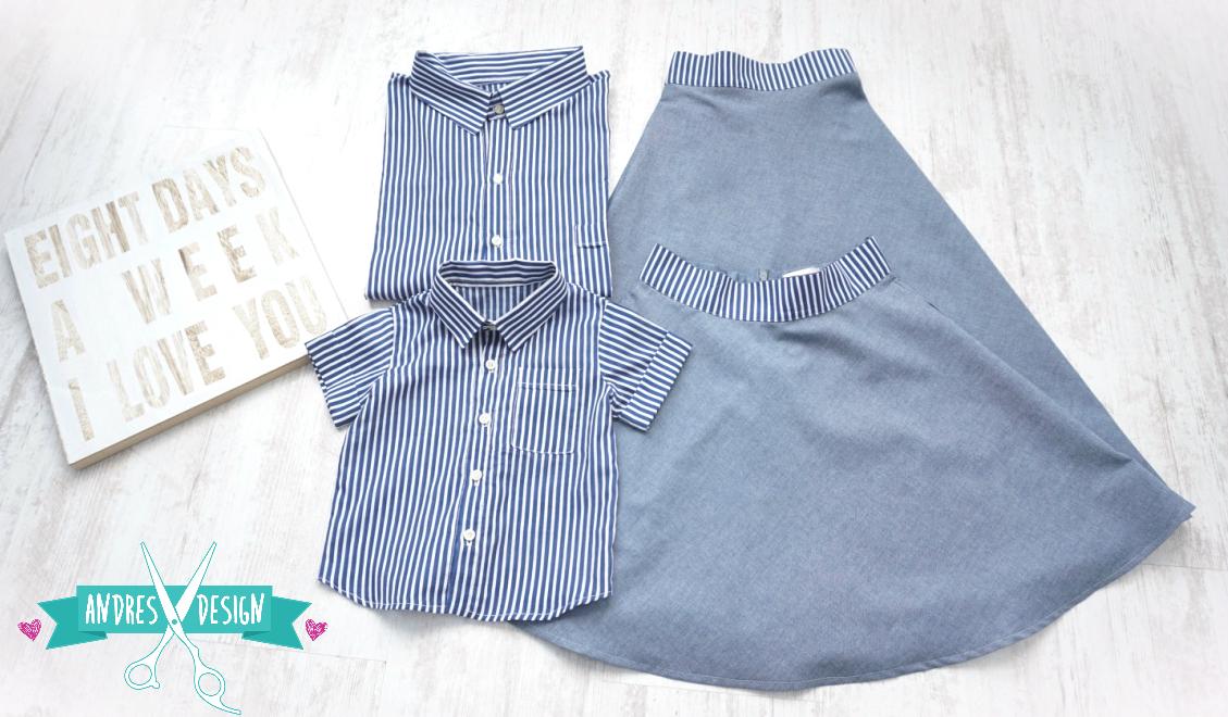 Camasi Tata Fiu si Fuste Mama si Fiica – jeans cu dungi