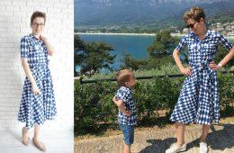 Rochie Mama si Camasa Copil – alb cu bleumarin