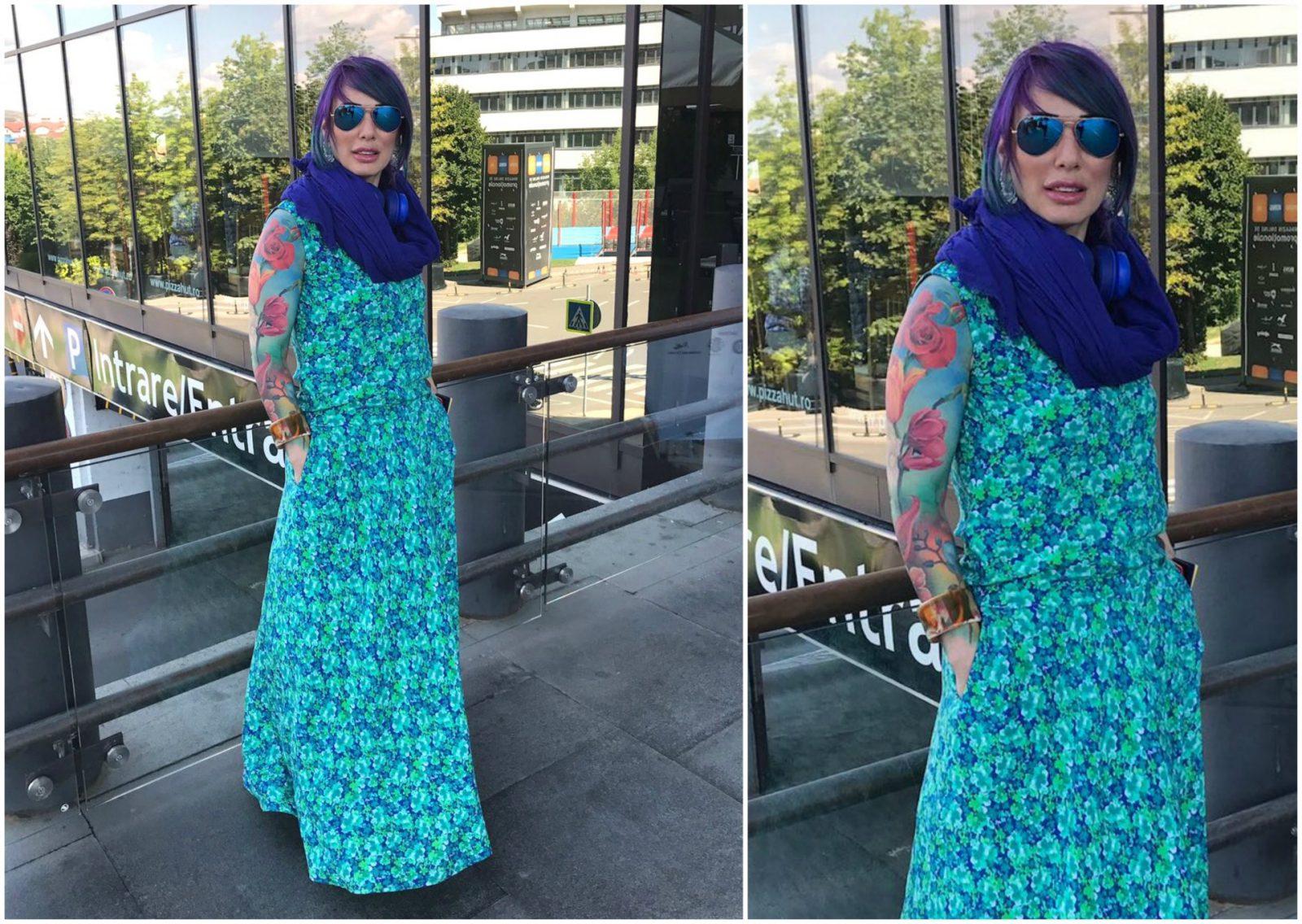 Bluza si Fusta Lunga – flori verzi