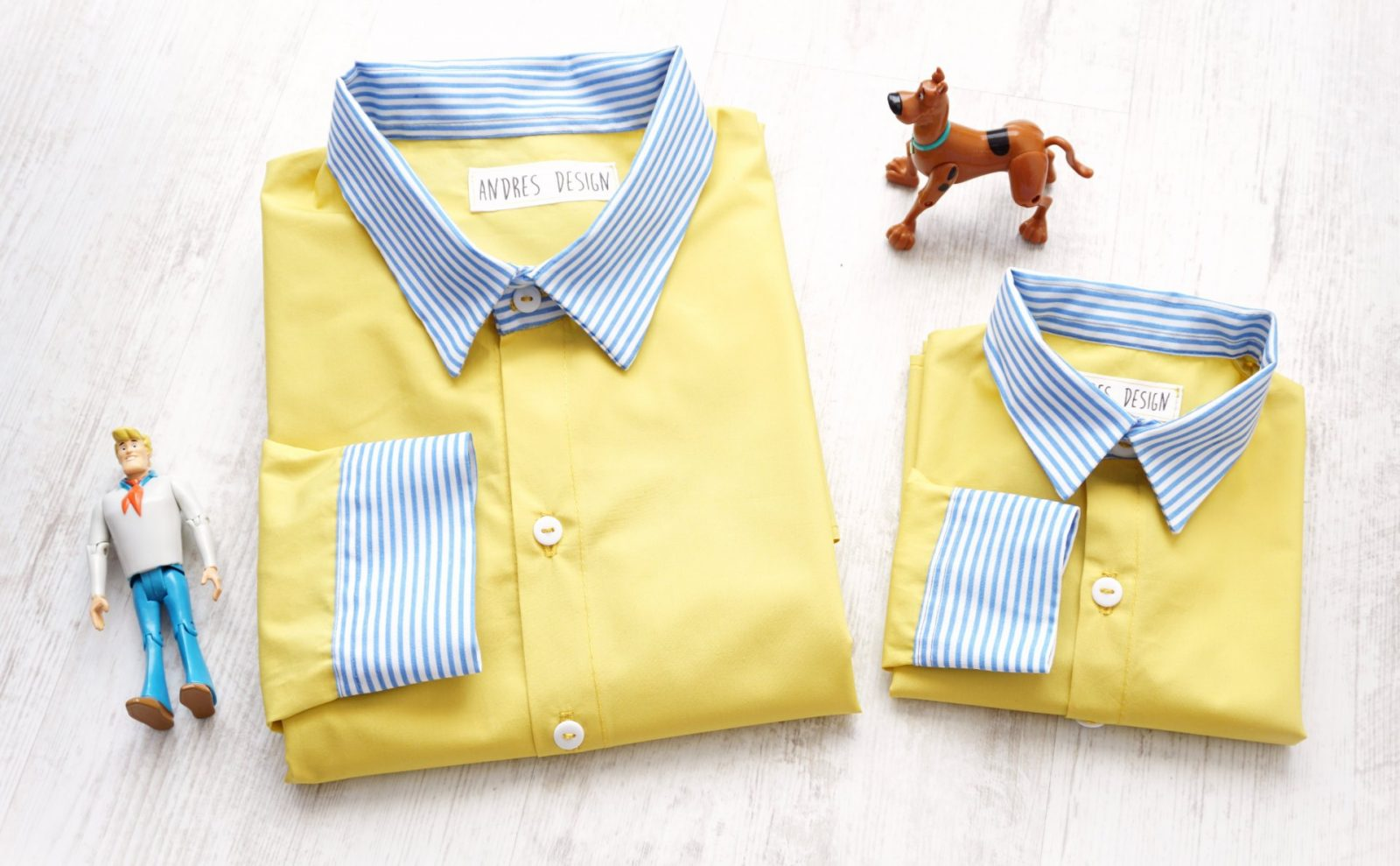 Camasi Tata Fiu – galbene cu dungi alb bleu