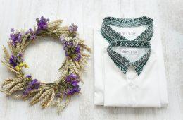 Camasi Tata Fiu – albe cu motive romanesti verzi