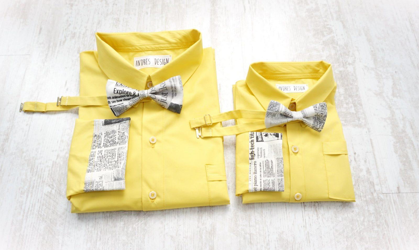 Camasi Tata Fiu – galbene cu imprimeu ziar