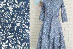 Rochie Jeans cu Trandafiri Albi