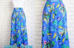Fusta Midi Albastra Flori Tropicale – marime S