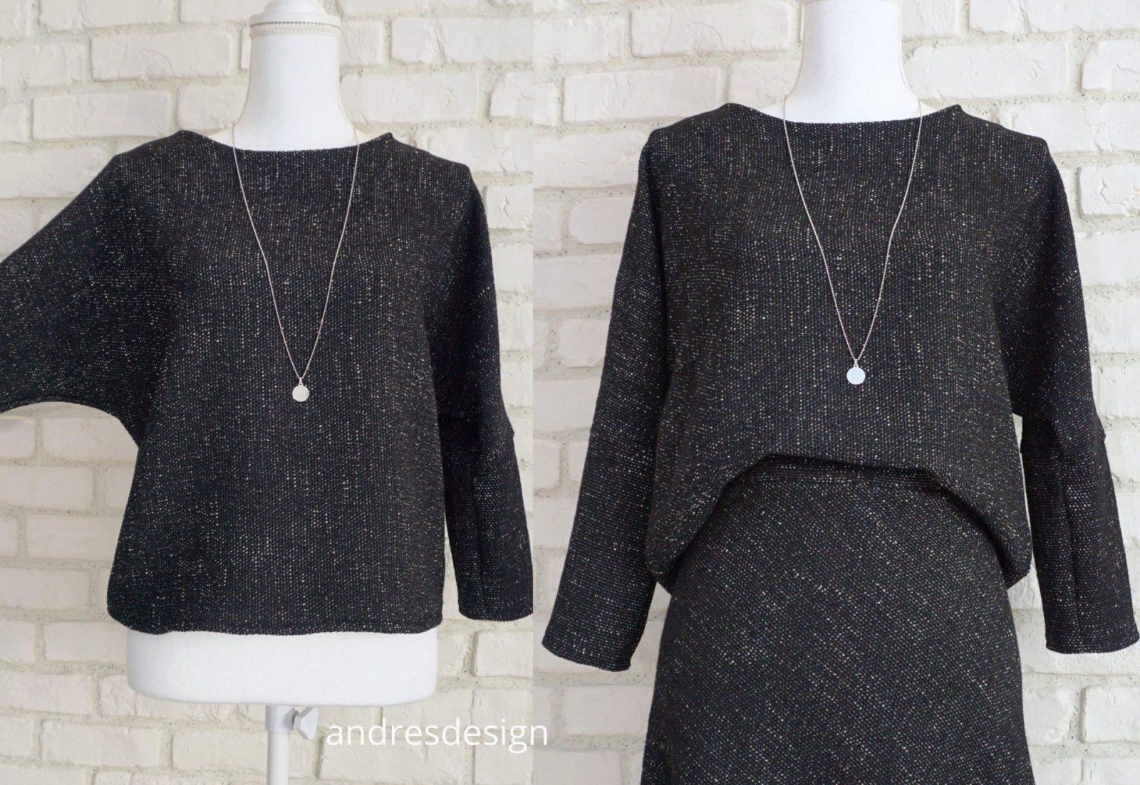 Bluza Lejera Stofa Bucle – negru cu crem