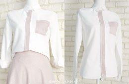 Camasa Dama In – alb cu roz argintiu
