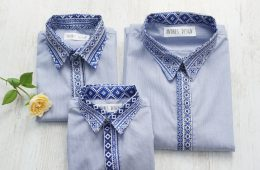 Camasi Elegante Familie – bleu cu motive romanesti