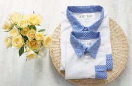 Camasi Tata Fiu – albe cu motive albastre