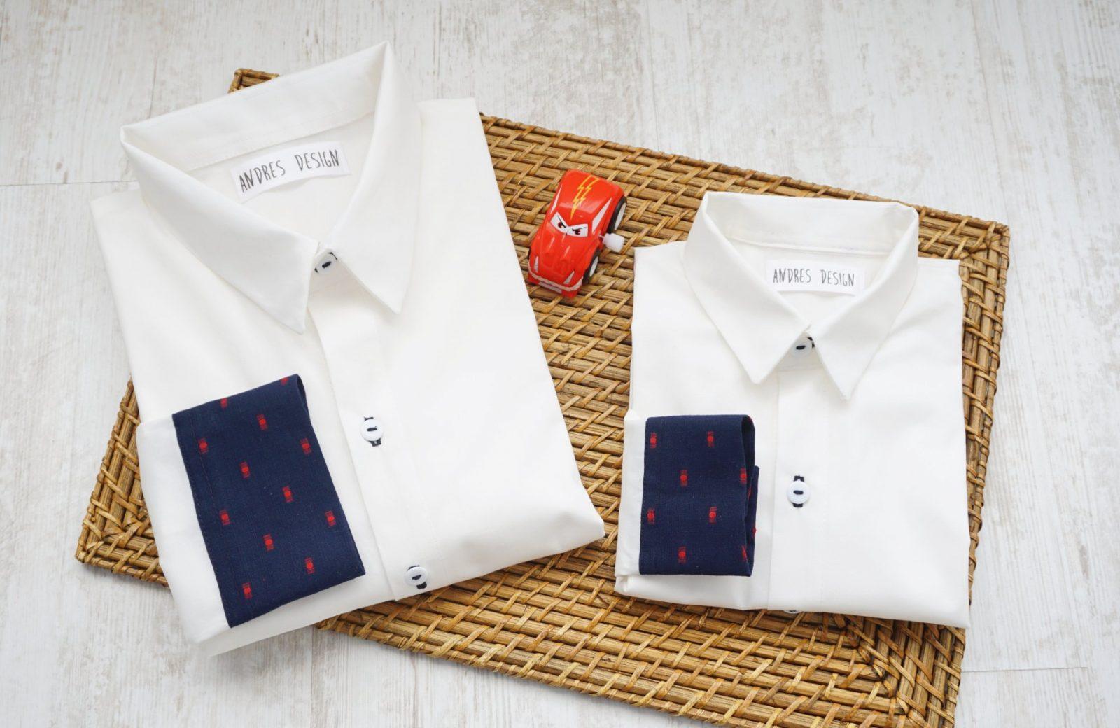 Camasi Tata Fiu – alb cu detalii bleumarin