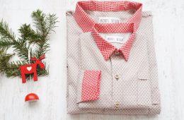 Camasi Tata Fiu – motive bej cu alb si rosu