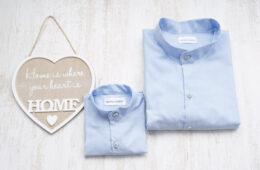 Camasi Tata Fiu Bleu cu Guler Tunica