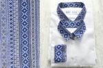 Camasi Tata Fiu – albe cu motive romanesti albastre