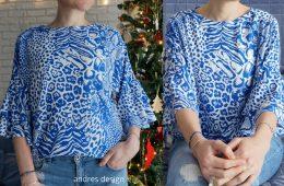 Bluza Lejera Volane Animal Print Albastru