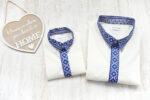 Camasi Elegante Familie – albe cu motive romanesti albastre